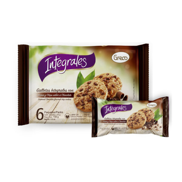 Integrales con Avena y Chips sabor a chocolate 156gr